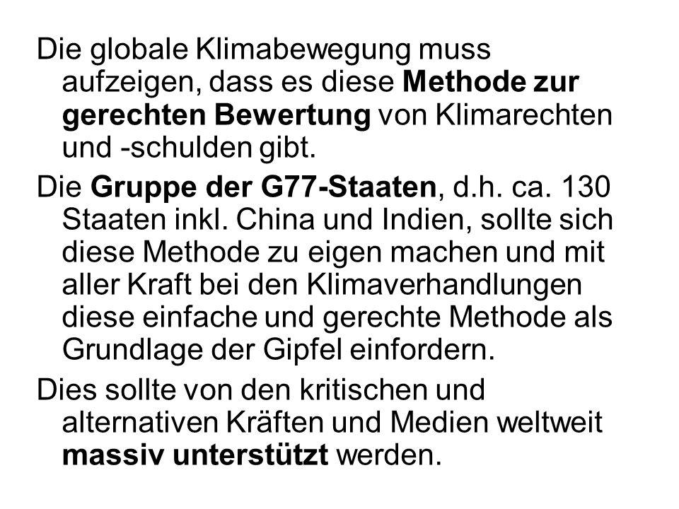 Die globale Klimabewegung muss aufzeigen, dass es diese Methode zur gerechten Bewertung von Klimarechten und -schulden gibt. Die Gruppe der G77-Staate