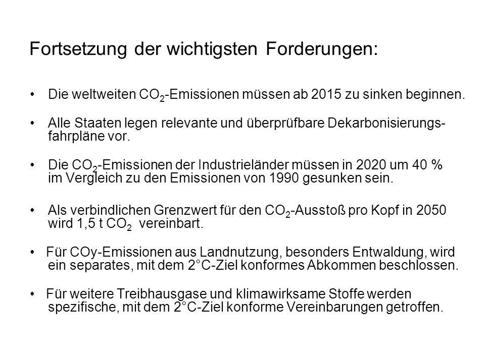 Fortsetzung der wichtigsten Forderungen: Die weltweiten CO 2 -Emissionen müssen ab 2015 zu sinken beginnen. Alle Staaten legen relevante und überprüfb