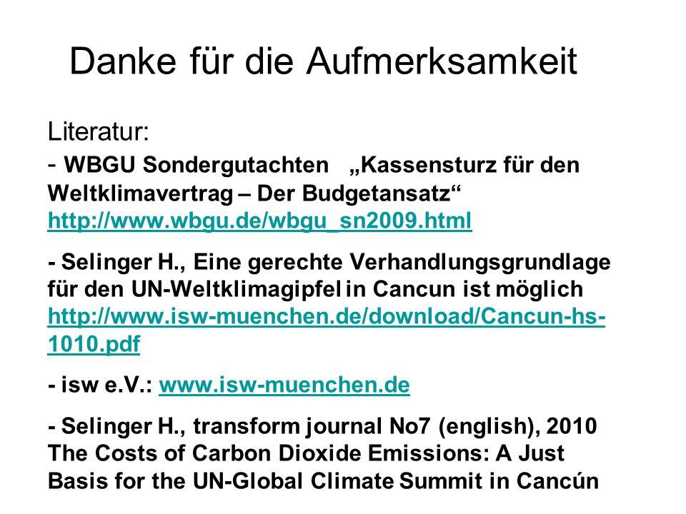 Danke für die Aufmerksamkeit Literatur: - WBGU Sondergutachten Kassensturz für den Weltklimavertrag – Der Budgetansatz http://www.wbgu.de/wbgu_sn2009.