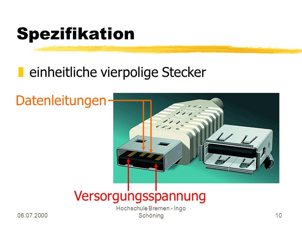 06.07.2000 Hochschule Bremen - Ingo Schöning10 Spezifikation zeinheitliche vierpolige Stecker Versorgungsspannung Datenleitungen