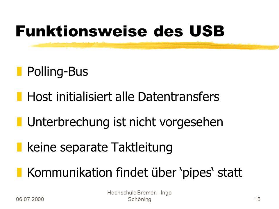 06.07.2000 Hochschule Bremen - Ingo Schöning15 Funktionsweise des USB zPolling-Bus zHost initialisiert alle Datentransfers zUnterbrechung ist nicht vo