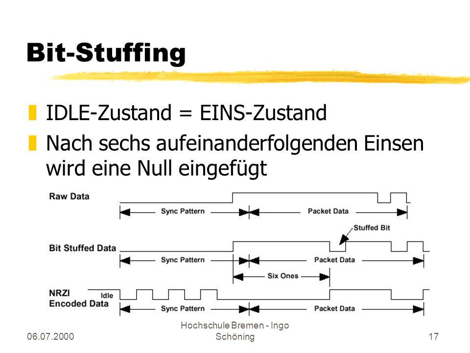 06.07.2000 Hochschule Bremen - Ingo Schöning17 Bit-Stuffing zIDLE-Zustand = EINS-Zustand zNach sechs aufeinanderfolgenden Einsen wird eine Null eingef