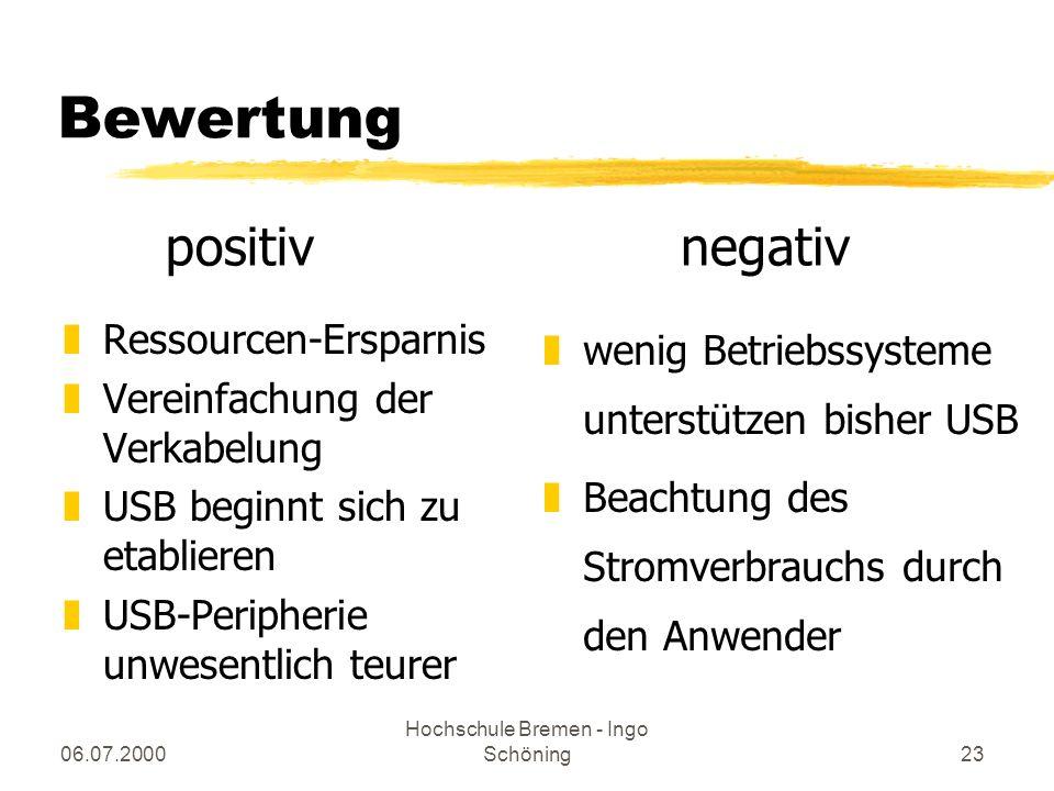 06.07.2000 Hochschule Bremen - Ingo Schöning23 Bewertung zRessourcen-Ersparnis zVereinfachung der Verkabelung zUSB beginnt sich zu etablieren zUSB-Per
