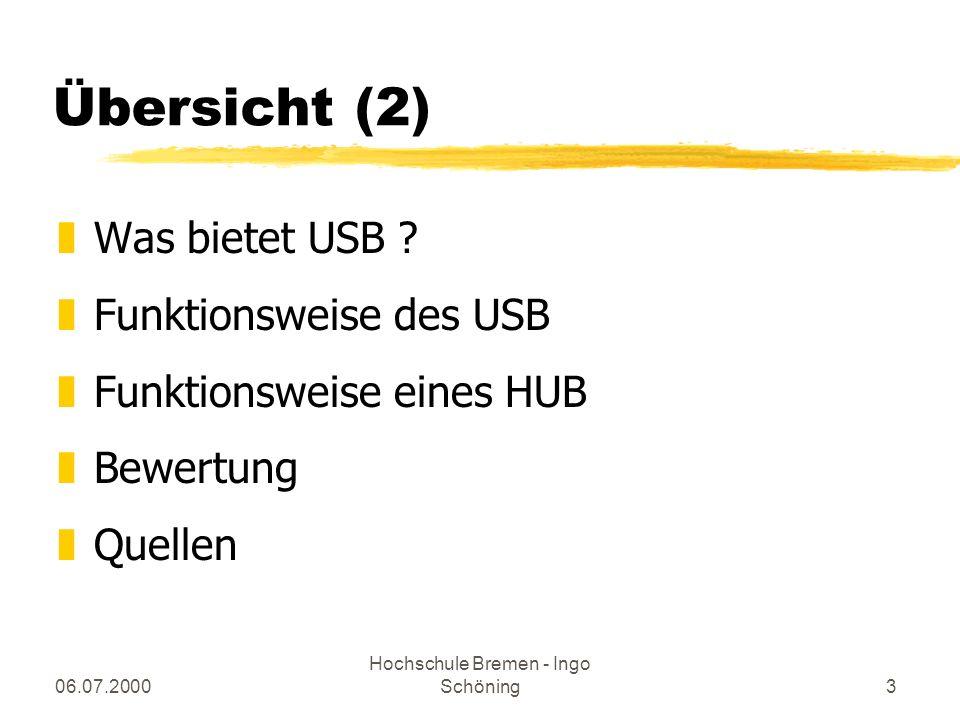 06.07.2000 Hochschule Bremen - Ingo Schöning24 Quellen zwww.usb.org yUSB 2.0 Spezifikation zct-Ausgaben y11/1995 y02/1997 y01/1998 y10/2000