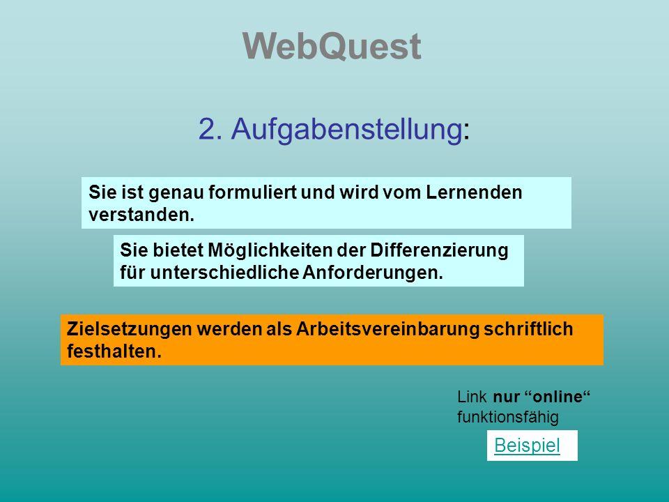WebQuest 2. Aufgabenstellung: Sie ist genau formuliert und wird vom Lernenden verstanden.