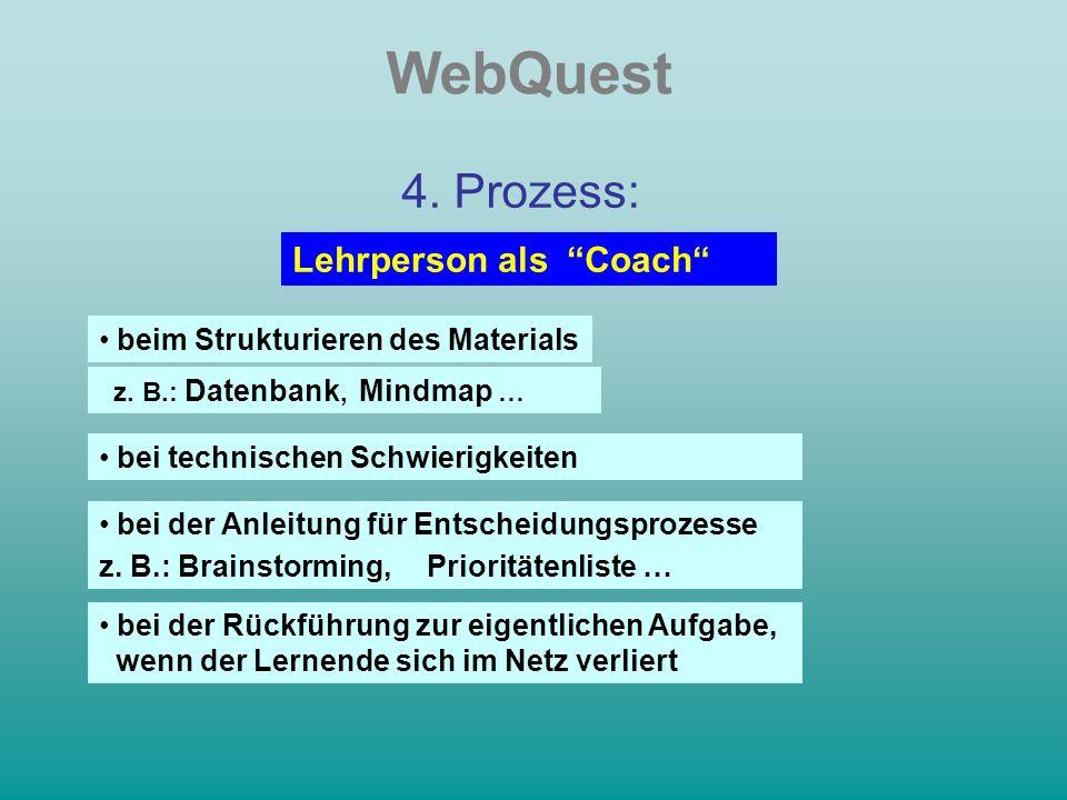 WebQuest 4. Prozess: beim Strukturieren des Materials z.