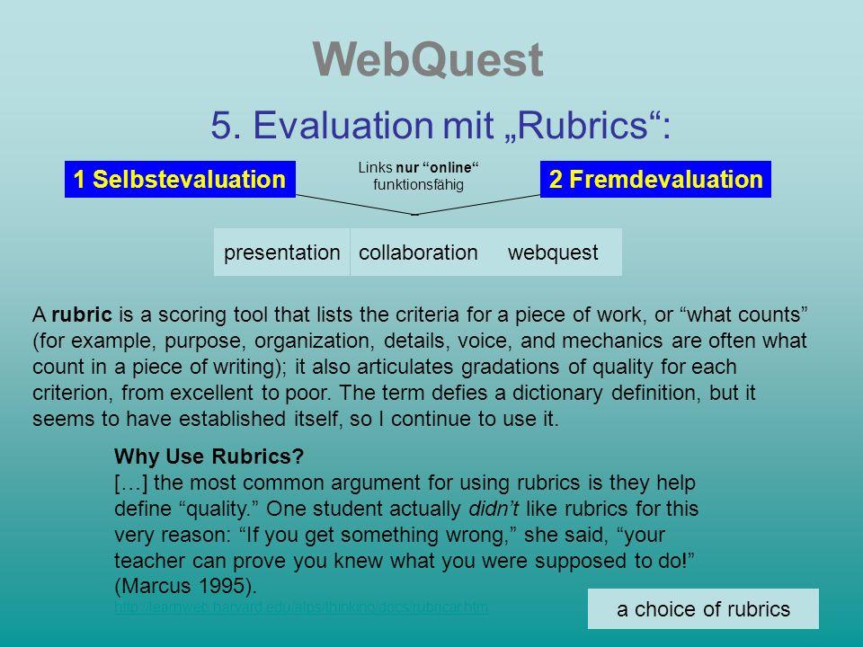 WebQuest 6.Präsentation: im Internet vor der Klasse als html-Dateien Struktur beachten vergl.