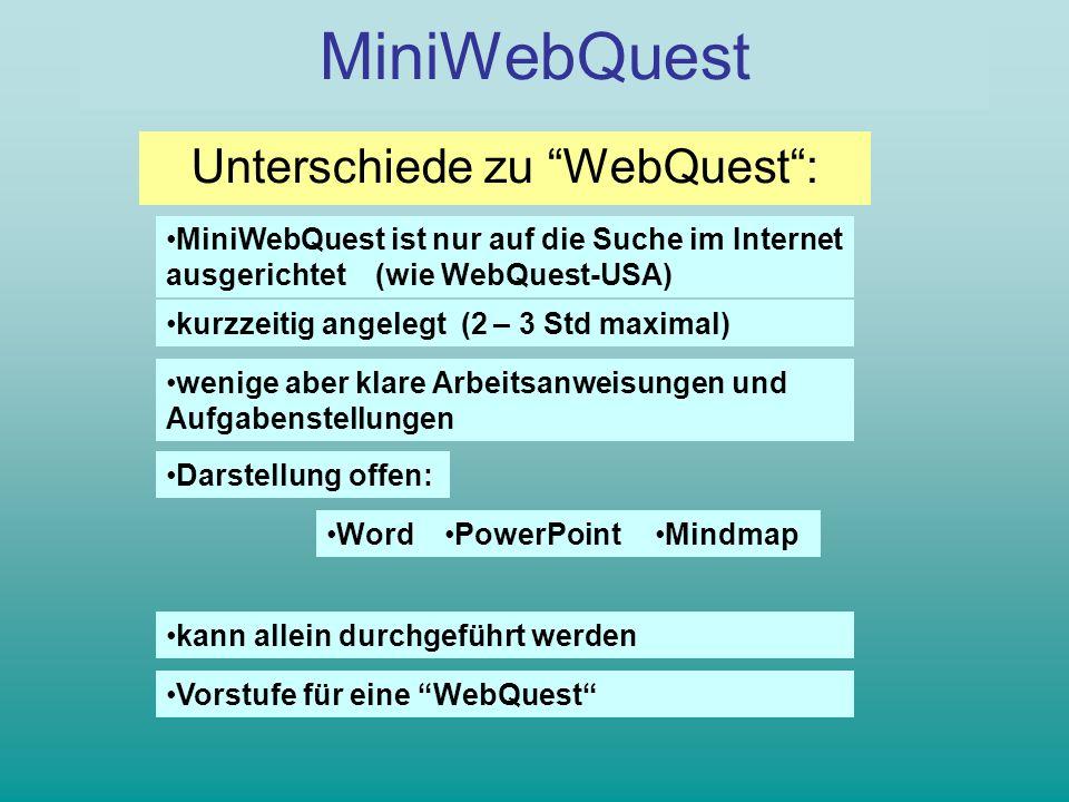 WebQuest MiniWebQuest Unterschiede zu WebQuest: MiniWebQuest ist nur auf die Suche im Internet ausgerichtet (wie WebQuest-USA) kurzzeitig angelegt (2 – 3 Std maximal) Darstellung offen: kann allein durchgeführt werden wenige aber klare Arbeitsanweisungen und Aufgabenstellungen MindmapWordPowerPoint Vorstufe für eine WebQuest