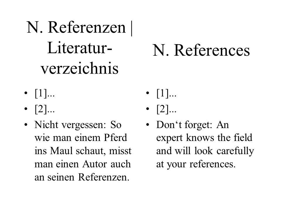 N. Referenzen | Literatur- verzeichnis [1]... [2]... Nicht vergessen: So wie man einem Pferd ins Maul schaut, misst man einen Autor auch an seinen Ref