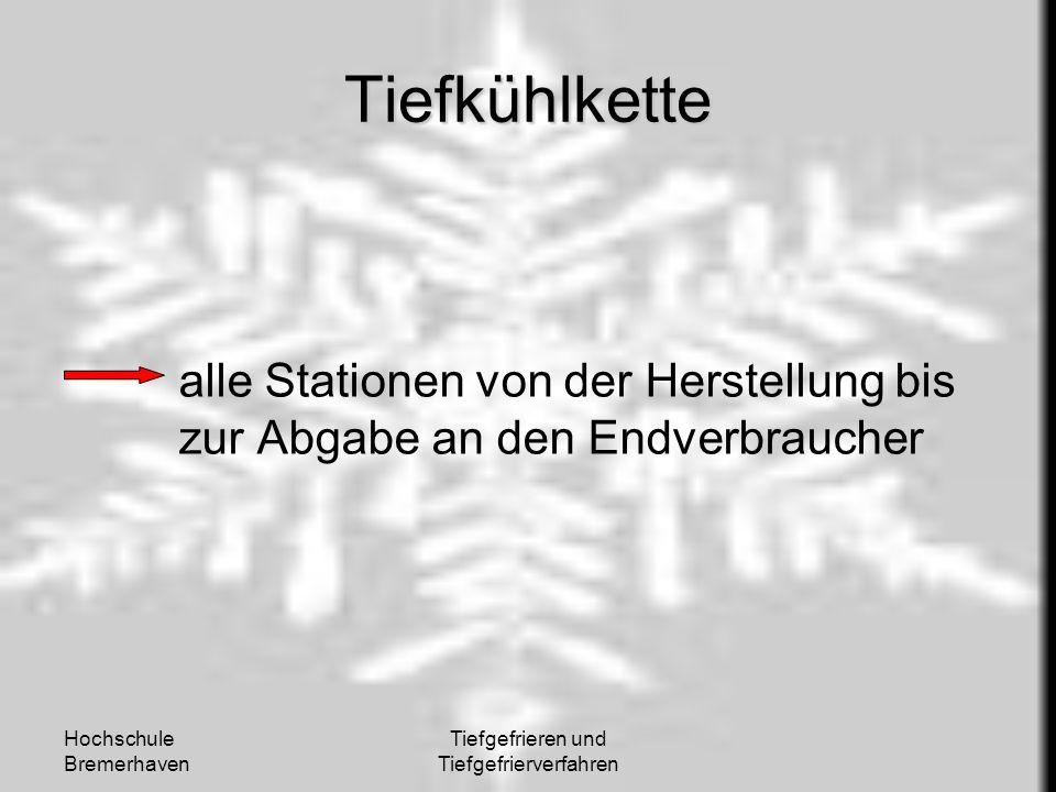 Hochschule Bremerhaven Tiefgefrieren und Tiefgefrierverfahren Tiefkühlkette alle Stationen von der Herstellung bis zur Abgabe an den Endverbraucher