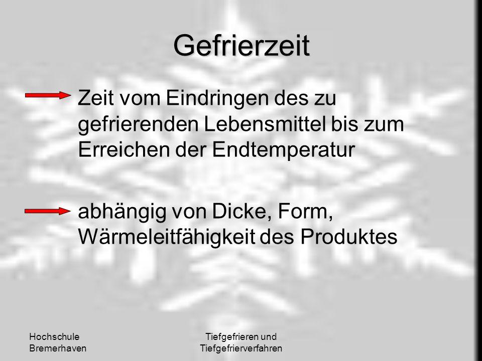 Hochschule Bremerhaven Tiefgefrieren und Tiefgefrierverfahren Gefrierzeit Zeit vom Eindringen des zu gefrierenden Lebensmittel bis zum Erreichen der E
