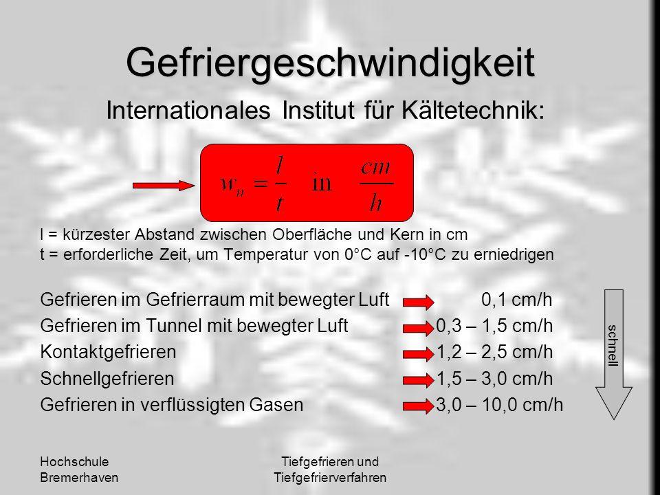 Hochschule Bremerhaven Tiefgefrieren und Tiefgefrierverfahren Gefriergeschwindigkeit Internationales Institut für Kältetechnik: l = kürzester Abstand