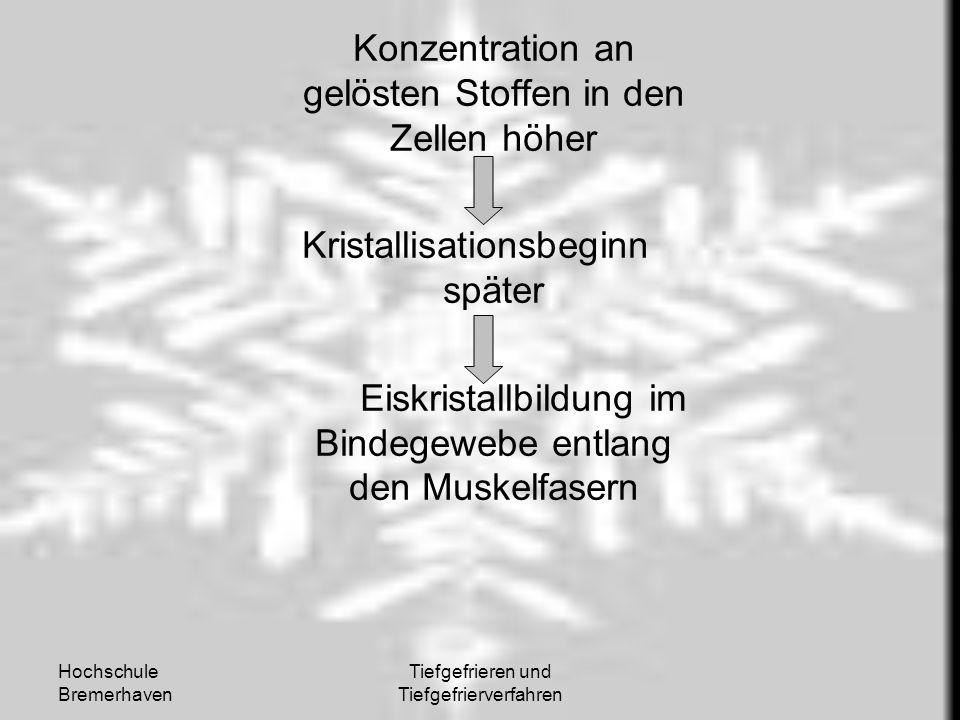 Hochschule Bremerhaven Tiefgefrieren und Tiefgefrierverfahren Konzentration an gelösten Stoffen in den Zellen höher Kristallisationsbeginn später Eisk