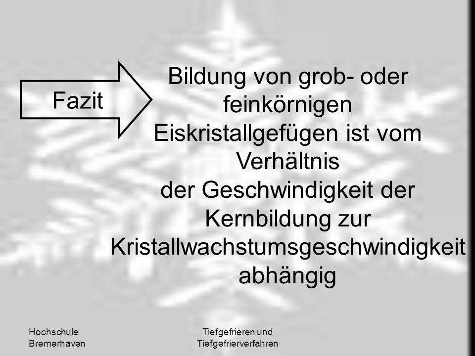 Hochschule Bremerhaven Tiefgefrieren und Tiefgefrierverfahren Fazit Bildung von grob- oder feinkörnigen Eiskristallgefügen ist vom Verhältnis der Gesc