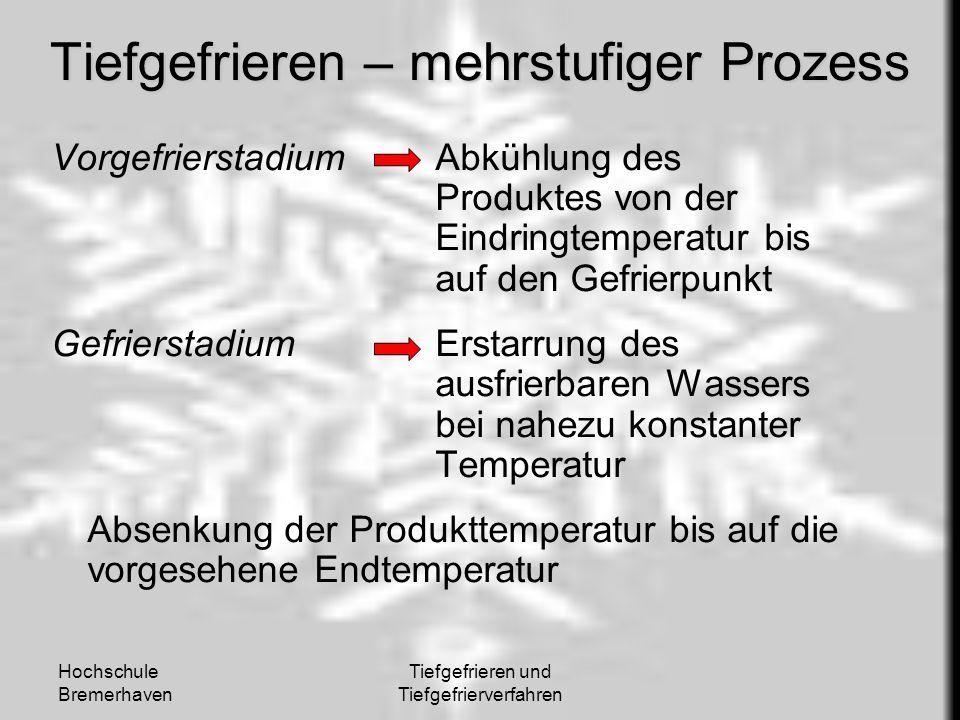 Hochschule Bremerhaven Tiefgefrieren und Tiefgefrierverfahren Tiefgefrieren – mehrstufiger Prozess VorgefrierstadiumAbkühlung des Produktes von der Ei