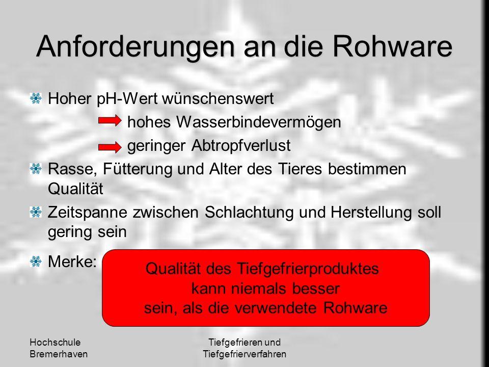 Hochschule Bremerhaven Tiefgefrieren und Tiefgefrierverfahren Anforderungen an die Rohware Hoher pH-Wert wünschenswert hohes Wasserbindevermögen gerin