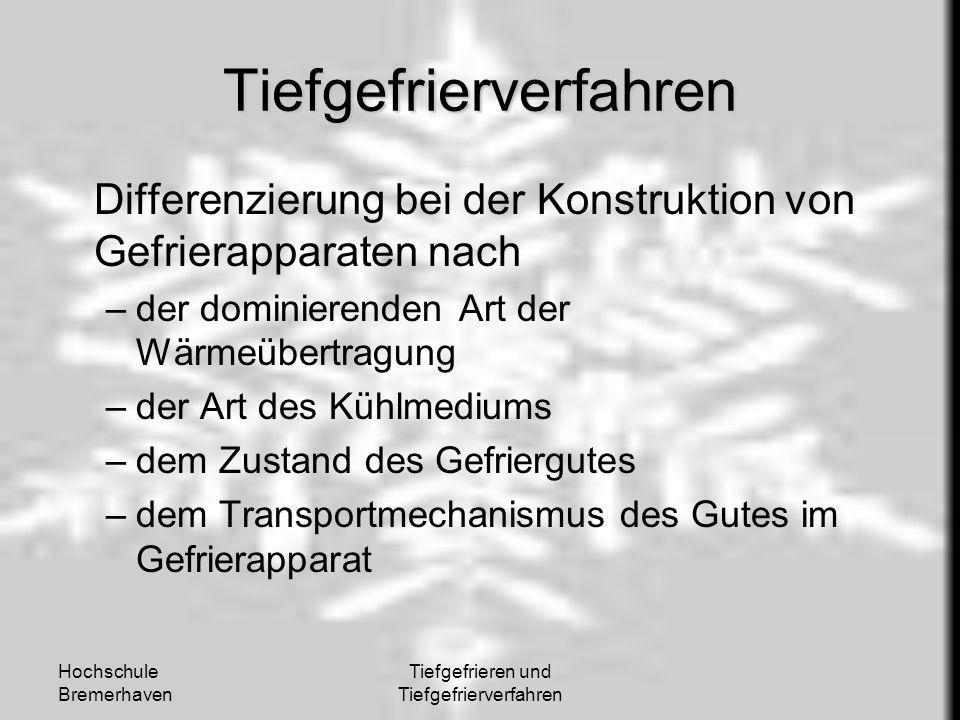 Hochschule Bremerhaven Tiefgefrieren und Tiefgefrierverfahren Tiefgefrierverfahren Differenzierung bei der Konstruktion von Gefrierapparaten nach –der