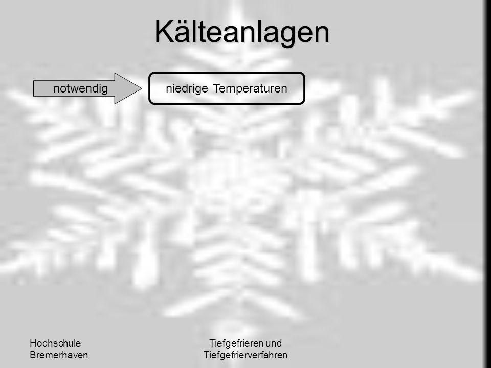 Hochschule Bremerhaven Tiefgefrieren und TiefgefrierverfahrenKälteanlagen notwendig niedrige Temperaturen