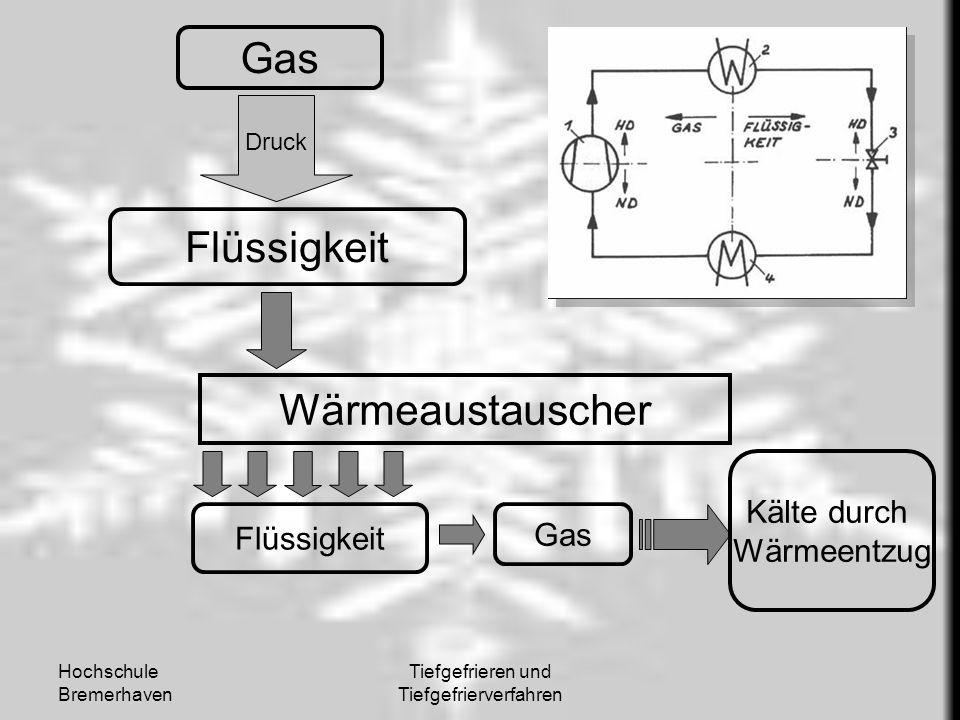 Hochschule Bremerhaven Tiefgefrieren und Tiefgefrierverfahren Gas Flüssigkeit Druck Wärmeaustauscher Flüssigkeit Gas Kälte durch Wärmeentzug