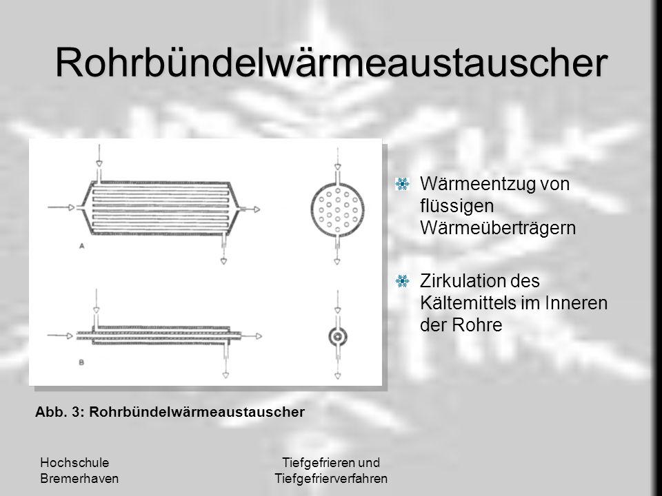 Hochschule Bremerhaven Tiefgefrieren und Tiefgefrierverfahren Rohrbündelwärmeaustauscher Wärmeentzug von flüssigen Wärmeüberträgern Zirkulation des Kä