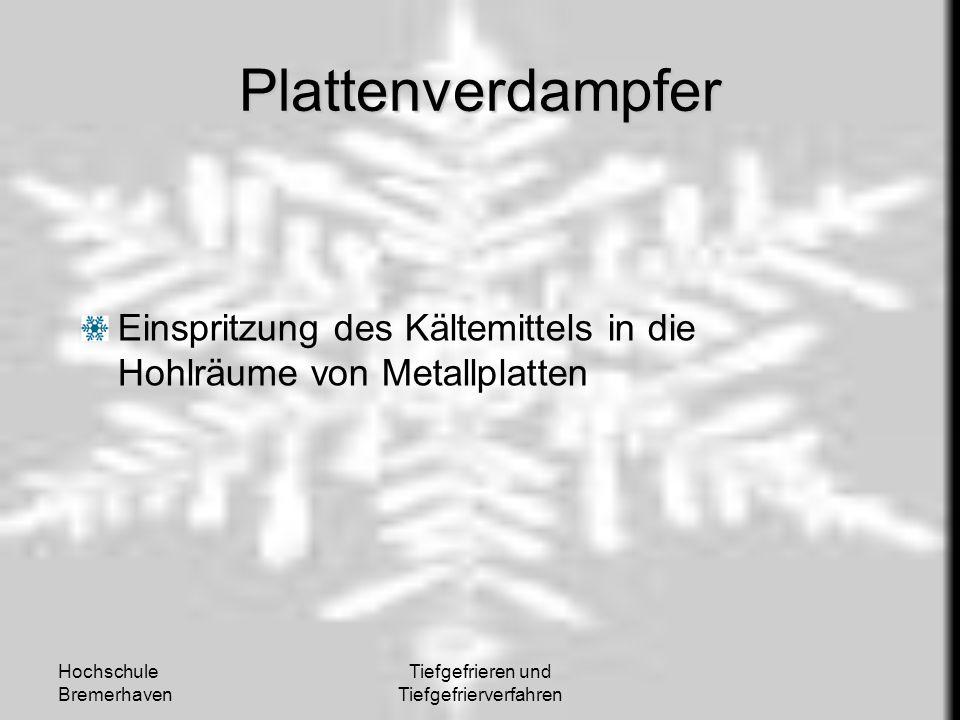 Hochschule Bremerhaven Tiefgefrieren und Tiefgefrierverfahren Plattenverdampfer Einspritzung des Kältemittels in die Hohlräume von Metallplatten