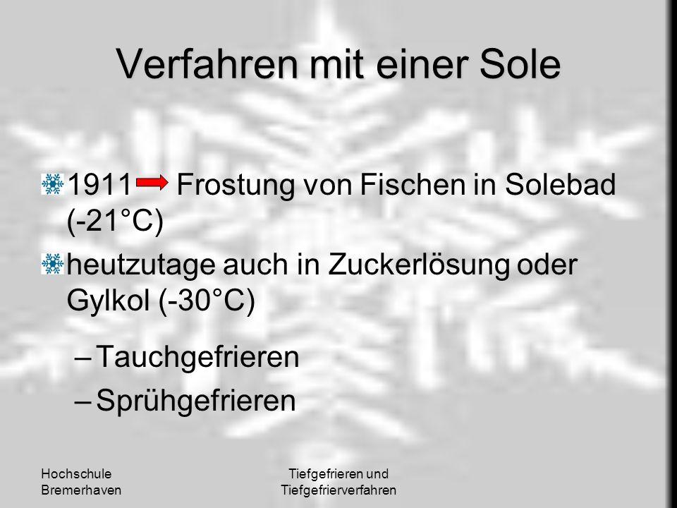 Hochschule Bremerhaven Tiefgefrieren und Tiefgefrierverfahren Verfahren mit einer Sole 1911Frostung von Fischen in Solebad (-21°C) heutzutage auch in