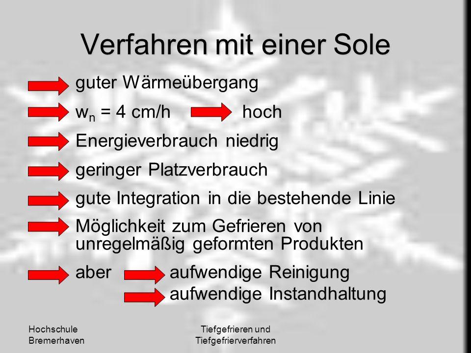 Hochschule Bremerhaven Tiefgefrieren und Tiefgefrierverfahren Verfahren mit einer Sole guter Wärmeübergang w n = 4 cm/h hoch Energieverbrauch niedrig