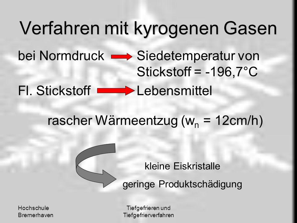 Hochschule Bremerhaven Tiefgefrieren und Tiefgefrierverfahren Verfahren mit kyrogenen Gasen bei NormdruckSiedetemperatur von Stickstoff = -196,7°C Fl.