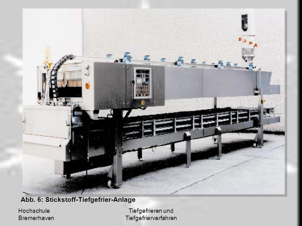 Hochschule Bremerhaven Tiefgefrieren und Tiefgefrierverfahren Abb. 6: Stickstoff-Tiefgefrier-Anlage