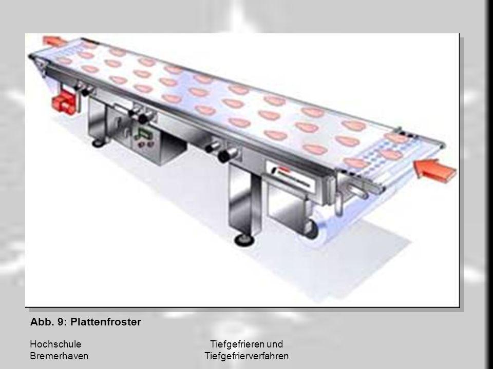 Hochschule Bremerhaven Tiefgefrieren und Tiefgefrierverfahren Abb. 9: Plattenfroster
