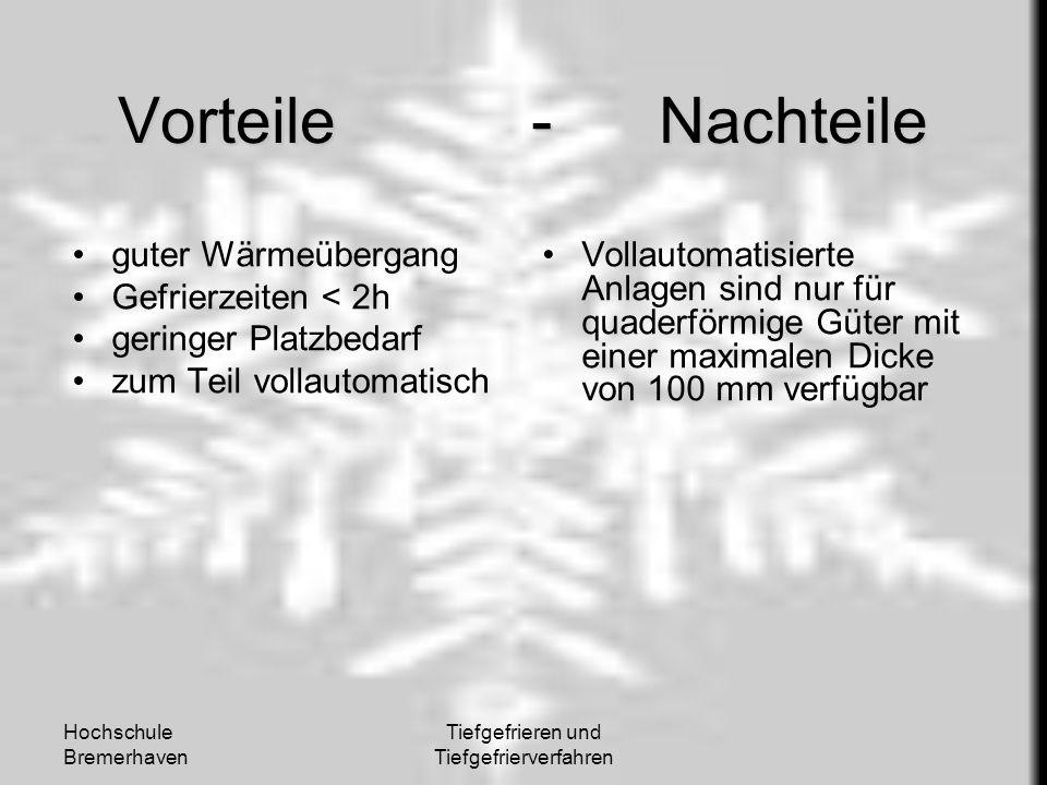 Hochschule Bremerhaven Tiefgefrieren und Tiefgefrierverfahren Vorteile - Nachteile guter Wärmeübergang Gefrierzeiten < 2h geringer Platzbedarf zum Tei