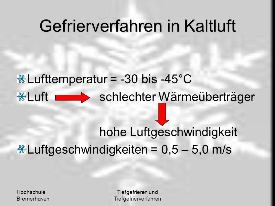 Hochschule Bremerhaven Tiefgefrieren und Tiefgefrierverfahren Gefrierverfahren in Kaltluft Lufttemperatur = -30 bis -45°C Luftschlechter Wärmeüberträg