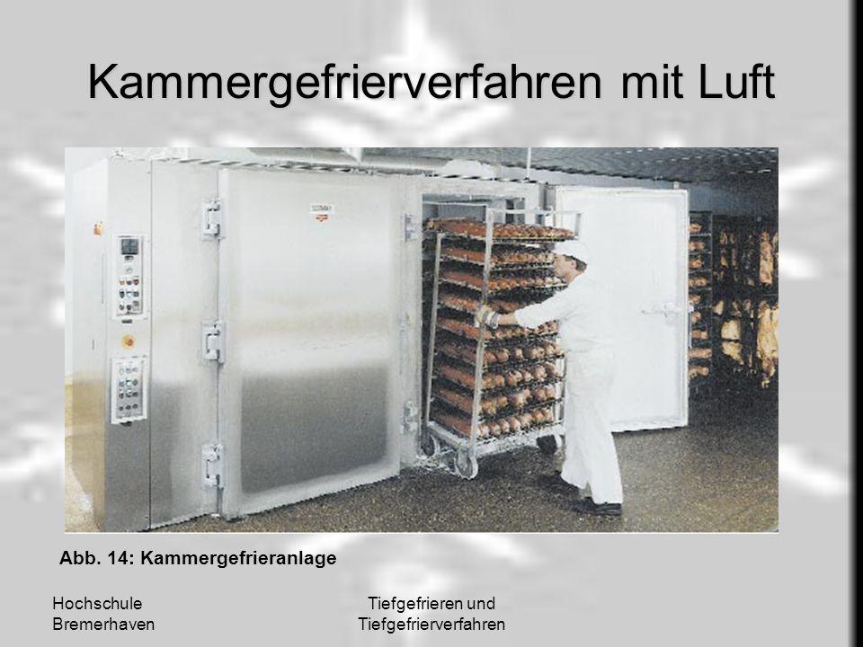 Hochschule Bremerhaven Tiefgefrieren und Tiefgefrierverfahren Kammergefrierverfahren mit Luft Abb. 14: Kammergefrieranlage
