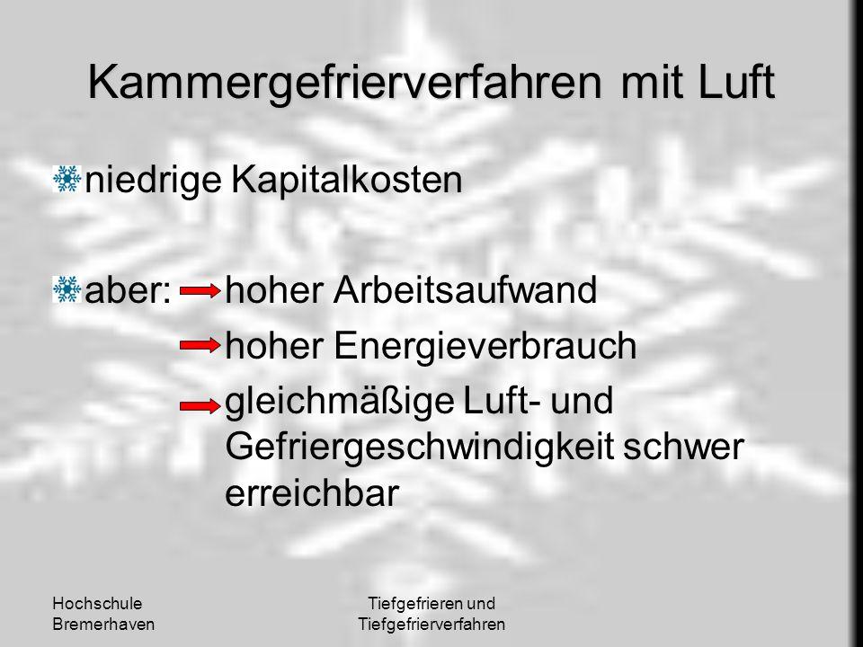 Hochschule Bremerhaven Tiefgefrieren und Tiefgefrierverfahren Kammergefrierverfahren mit Luft niedrige Kapitalkosten aber: hoher Arbeitsaufwand hoher