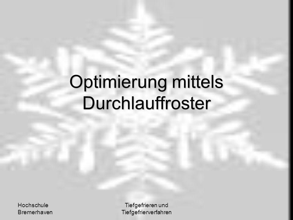 Hochschule Bremerhaven Tiefgefrieren und Tiefgefrierverfahren Optimierung mittels Durchlauffroster