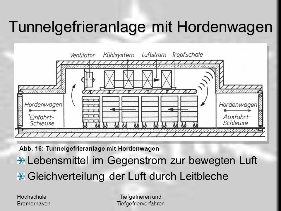 Hochschule Bremerhaven Tiefgefrieren und Tiefgefrierverfahren Tunnelgefrieranlage mit Hordenwagen Lebensmittel im Gegenstrom zur bewegten Luft Gleichv