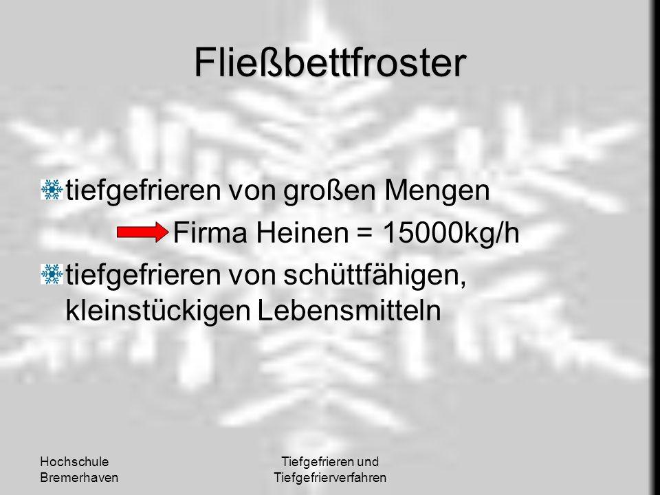 Hochschule Bremerhaven Tiefgefrieren und Tiefgefrierverfahren Fließbettfroster tiefgefrieren von großen Mengen Firma Heinen = 15000kg/h tiefgefrieren