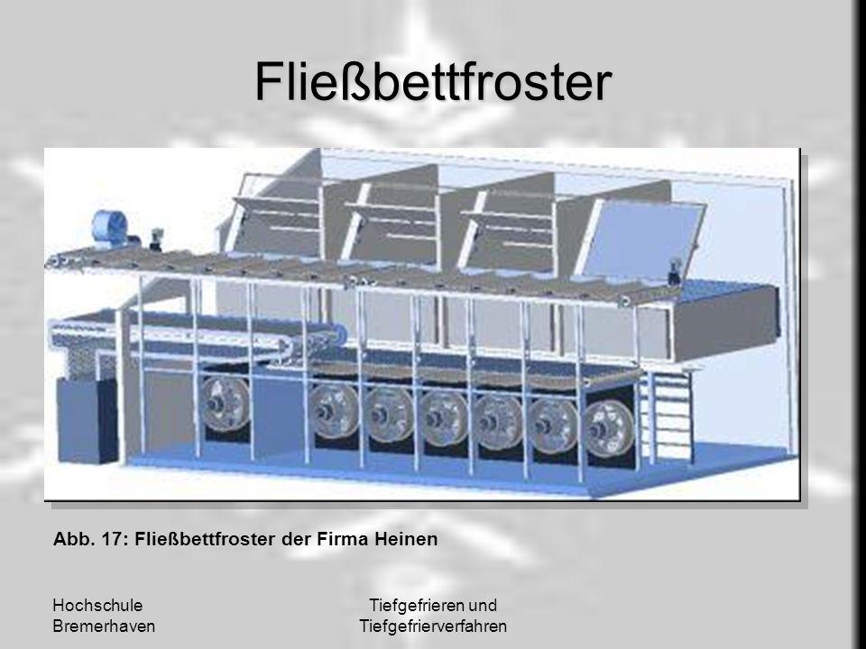 Hochschule Bremerhaven Tiefgefrieren und Tiefgefrierverfahren Fließbettfroster Abb. 17: Fließbettfroster der Firma Heinen