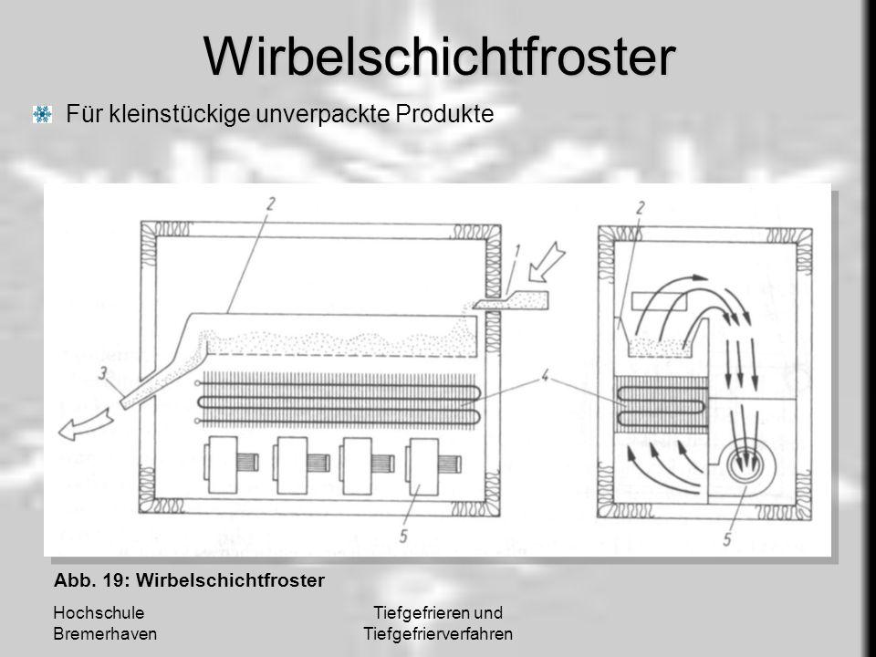 Hochschule Bremerhaven Tiefgefrieren und TiefgefrierverfahrenWirbelschichtfroster Für kleinstückige unverpackte Produkte Abb. 19: Wirbelschichtfroster