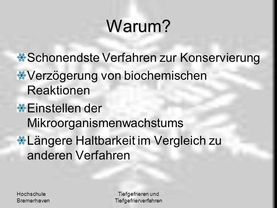 Hochschule Bremerhaven Tiefgefrieren und Tiefgefrierverfahren Warum? Schonendste Verfahren zur Konservierung Verzögerung von biochemischen Reaktionen