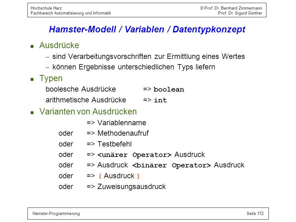 Hamster-ProgrammierungSeite 172 Hochschule Harz © Prof. Dr. Bernhard Zimmermann Fachbereich Automatisierung und Informatik Prof. Dr. Sigurd Günther Ha