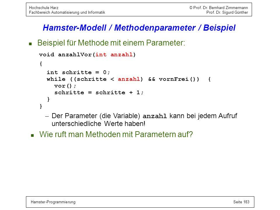 Hamster-ProgrammierungSeite 183 Hochschule Harz © Prof. Dr. Bernhard Zimmermann Fachbereich Automatisierung und Informatik Prof. Dr. Sigurd Günther Ha