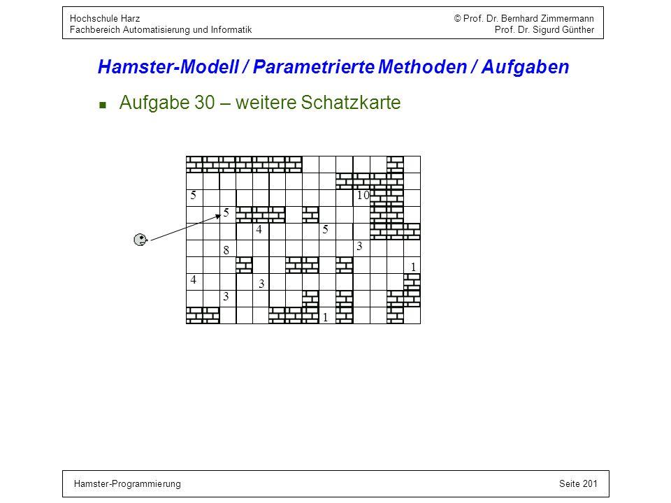 Hamster-ProgrammierungSeite 201 Hochschule Harz © Prof. Dr. Bernhard Zimmermann Fachbereich Automatisierung und Informatik Prof. Dr. Sigurd Günther Ha