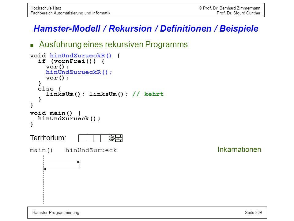 Hamster-ProgrammierungSeite 209 Hochschule Harz © Prof. Dr. Bernhard Zimmermann Fachbereich Automatisierung und Informatik Prof. Dr. Sigurd Günther Ha