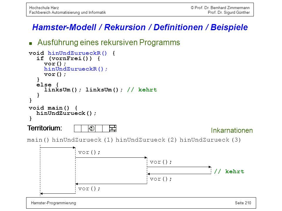 Hamster-ProgrammierungSeite 210 Hochschule Harz © Prof. Dr. Bernhard Zimmermann Fachbereich Automatisierung und Informatik Prof. Dr. Sigurd Günther Te