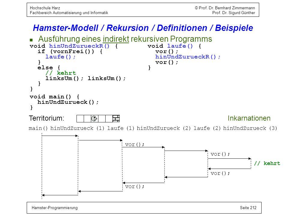 Hamster-ProgrammierungSeite 212 Hochschule Harz © Prof. Dr. Bernhard Zimmermann Fachbereich Automatisierung und Informatik Prof. Dr. Sigurd Günther Ha