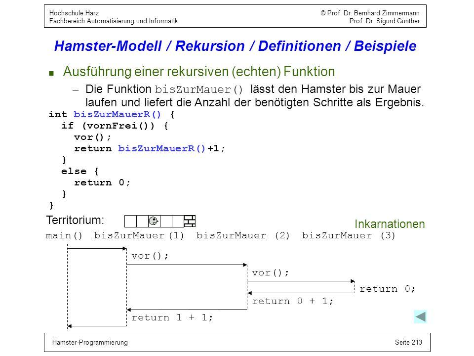 Hamster-ProgrammierungSeite 213 Hochschule Harz © Prof. Dr. Bernhard Zimmermann Fachbereich Automatisierung und Informatik Prof. Dr. Sigurd Günther Ha