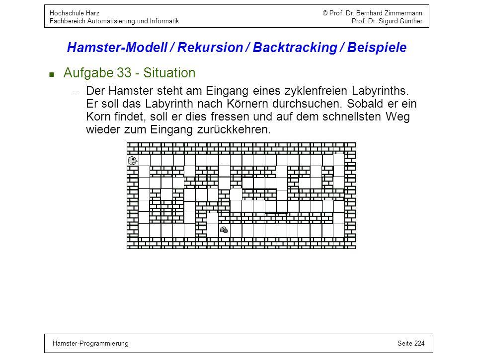 Hamster-ProgrammierungSeite 224 Hochschule Harz © Prof. Dr. Bernhard Zimmermann Fachbereich Automatisierung und Informatik Prof. Dr. Sigurd Günther Ha