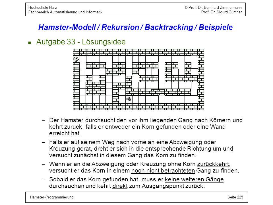 Hamster-ProgrammierungSeite 225 Hochschule Harz © Prof. Dr. Bernhard Zimmermann Fachbereich Automatisierung und Informatik Prof. Dr. Sigurd Günther Ha