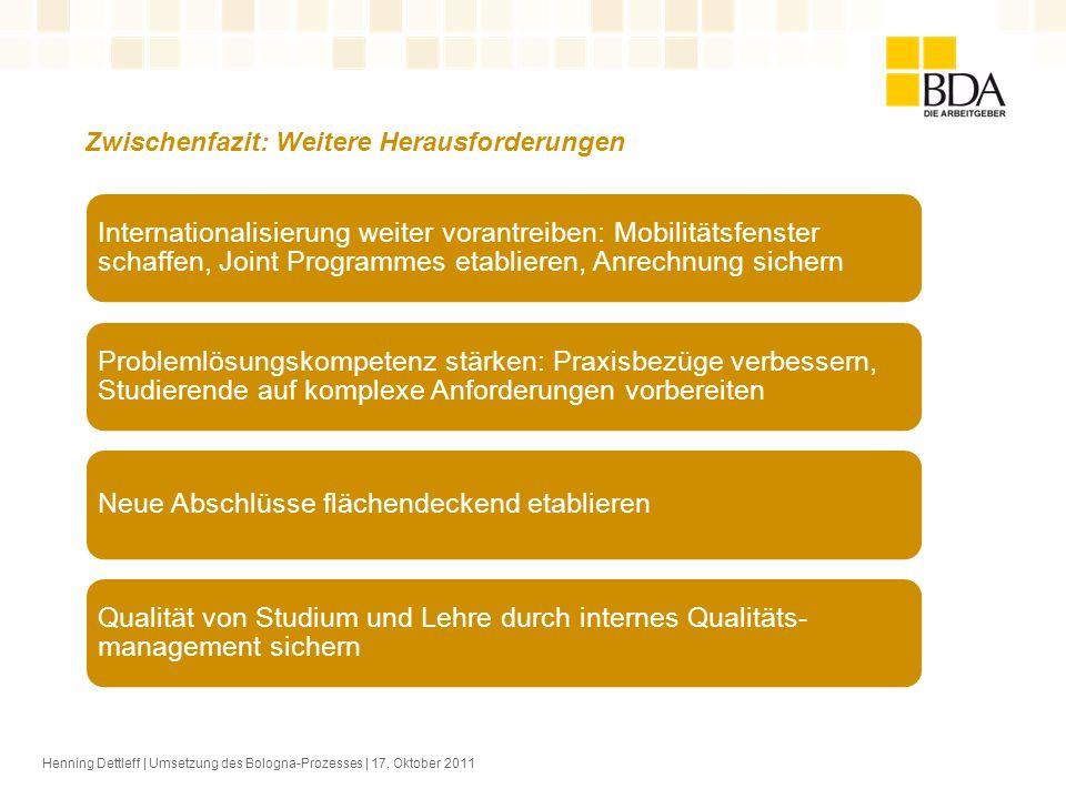 Henning Dettleff | Umsetzung des Bologna-Prozesses | 17. Oktober 2011 Zwischenfazit: Weitere Herausforderungen Internationalisierung weiter vorantreib